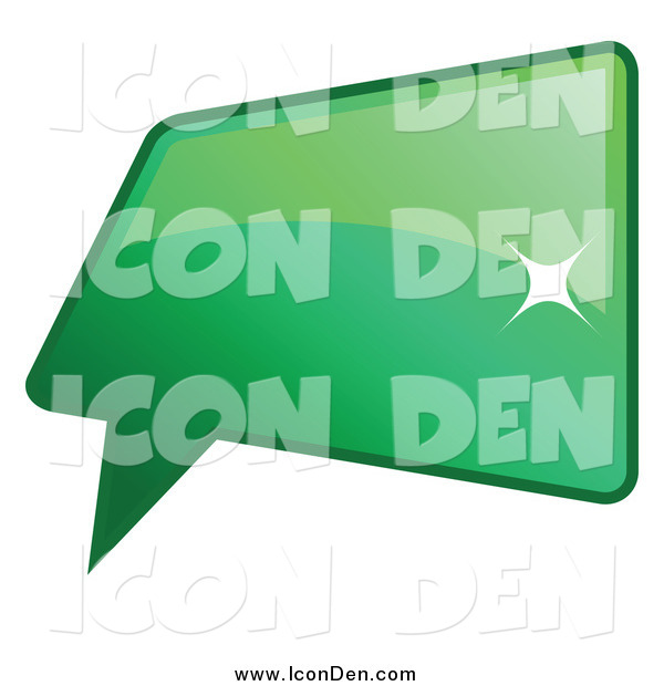 Clip Art of a Shiny Green Word, Chat or Speech Balloon Icon