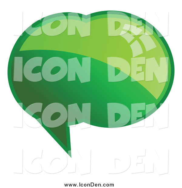 Clip Art of a Shiny Green Word, Chat or Speech Bubble Icon