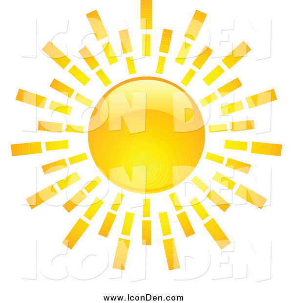 Clip Art of a Shiny Hot Summer Sun Icon
