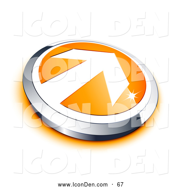 Clip Art of a Shiny White Arrow on an Orange Button with a Chrome Border and Orange Shadow