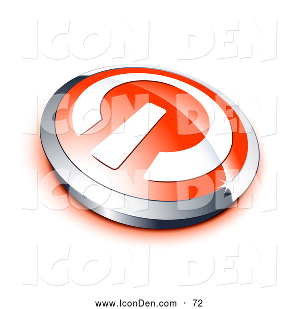 Clip Art of a Shiny White Power Symbol on a Red Electronics Button, Bordered by Chrome, with a Red Shadow