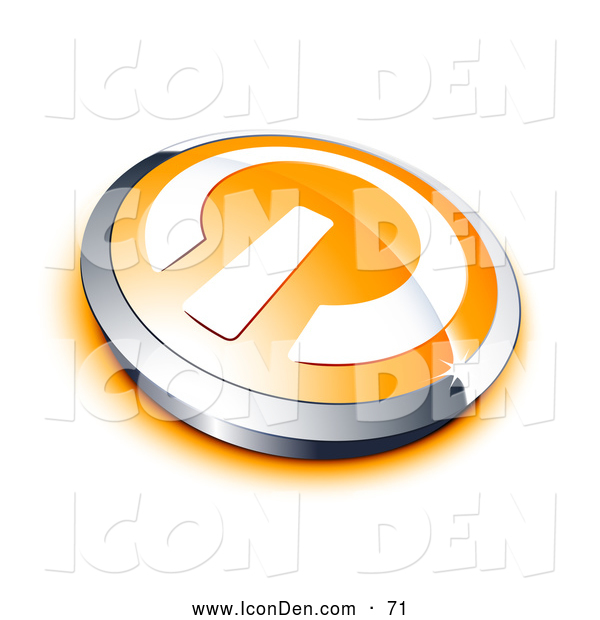 Clip Art of a Shiny White Power Symbol on an Orange Electronics Button, Bordered by Chrome, with an Orange Shadow