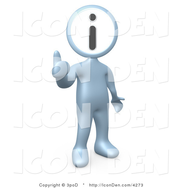 Clip Art of a Silver Person with an I Information Head