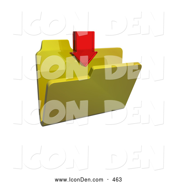 Clip Art of a Single Red Download Arrow Pointing down over a Yellow Folder