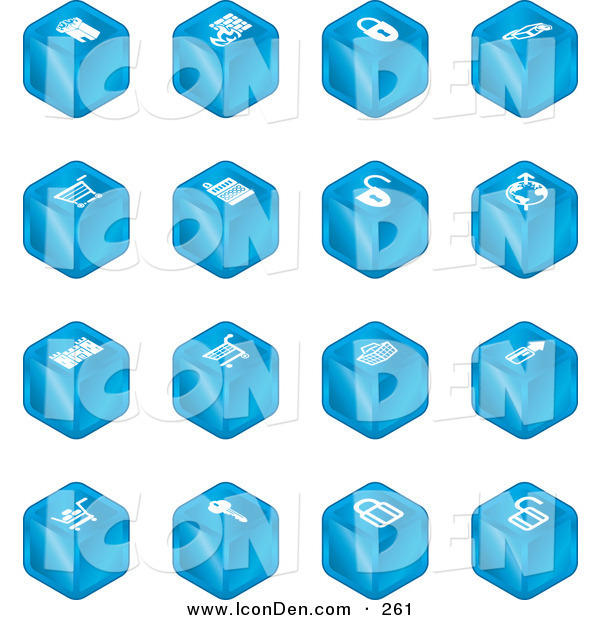 Clip Art of a Sixteen Blue Cube Icons of a Fortress, Brick Wall, Padlocks, Shopping Cart, Castle, Basket, Credit Card, and Key on White