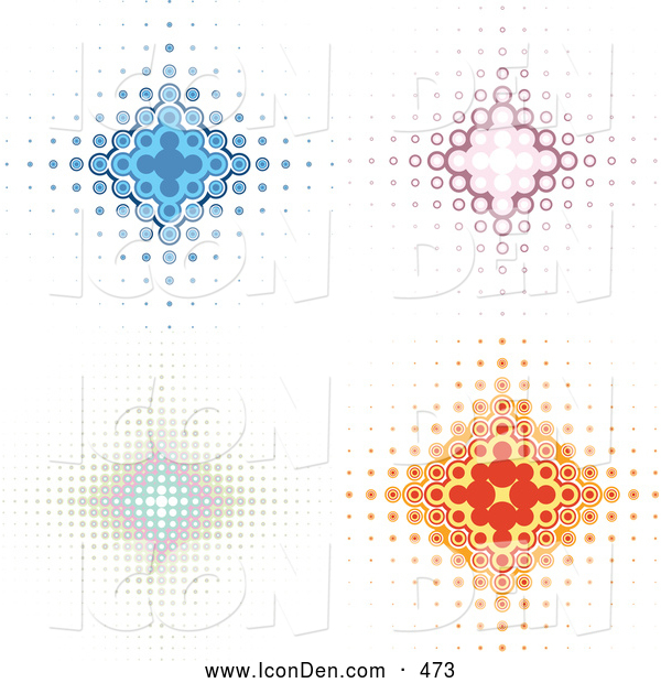Clip Art of a Sparkly Set of Four Blue, Pink, and Orange Diamond Backgrounds with Dots Spanning from the Center