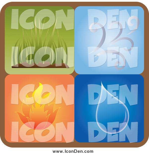 Clip Art of a Square Icon of Different Elements