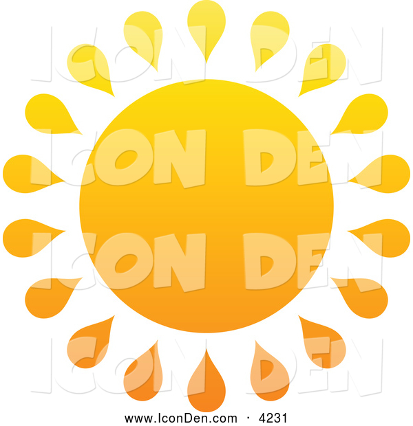Clip Art of a Summer Sun with Drop Rays