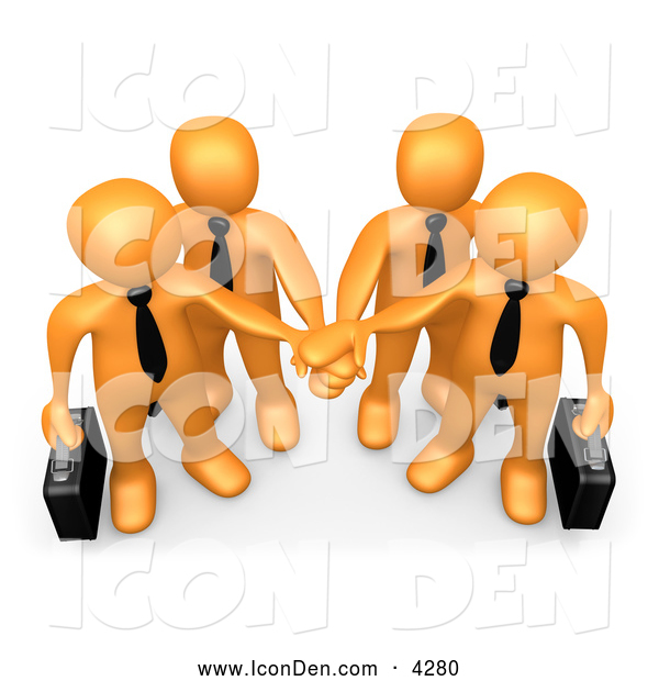 Clip Art of a Team of Four Orange Business People Carrying Briefcases and Standing with Their Hands Piled, Symbolizing Teamwork, Cooperation, Support, Unity and Goals