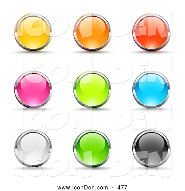 Clip Art of a Varied Set of Nine Yellow, Pink, White, Orange, Green, Red, Blue and Black Button Icons Circled in Chrome