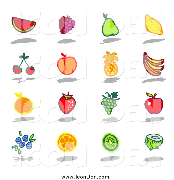 Clip Art of a Watermelon, Raspberry, Pear, Lemon, Cherry, Apricot, Pineapple, Banana, Orange, Strawberry, Grape, Apple, Blueberry, Kiwi and Coconut Fruits