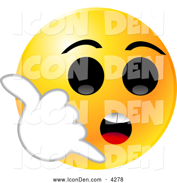 Clip Art of a Yellow Emoticon Face with Big Black Eyes, Holding His Hand up like a Cell Phone and Hollering for Someone to Call Him on His Smart Phone