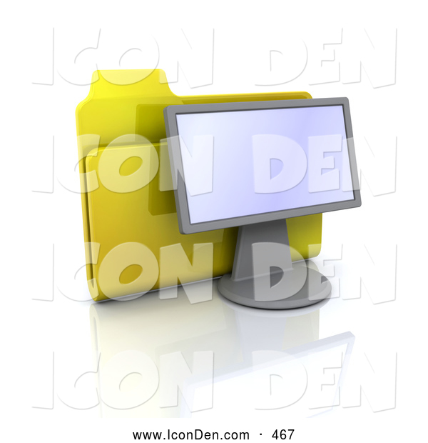 Clip Art of a Yellow Folder Resting Behind a Computer Monitor on White