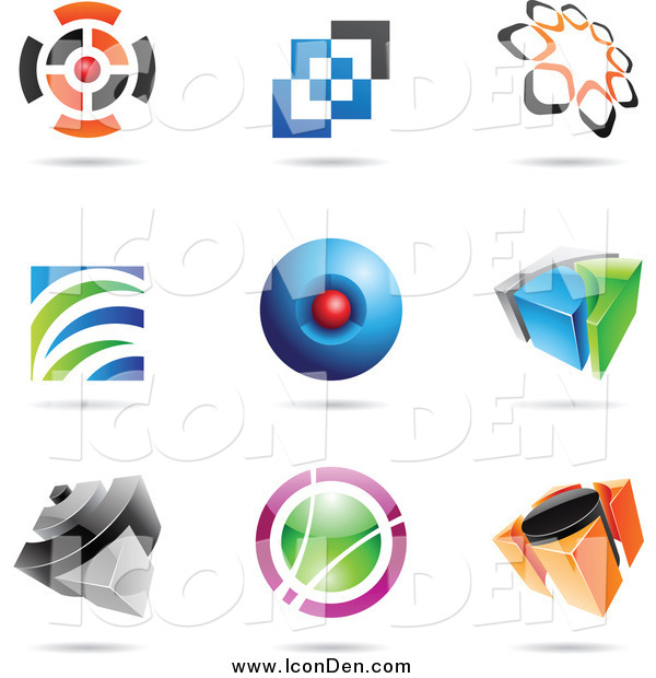 Clip Art of Abstract Icons and Shadows