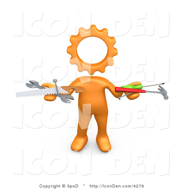 Clip Art of an Orange Person with a Gear Head, Holding Nails, Screwdriver, Hammer, Saw and Wrench While Repairing a Website