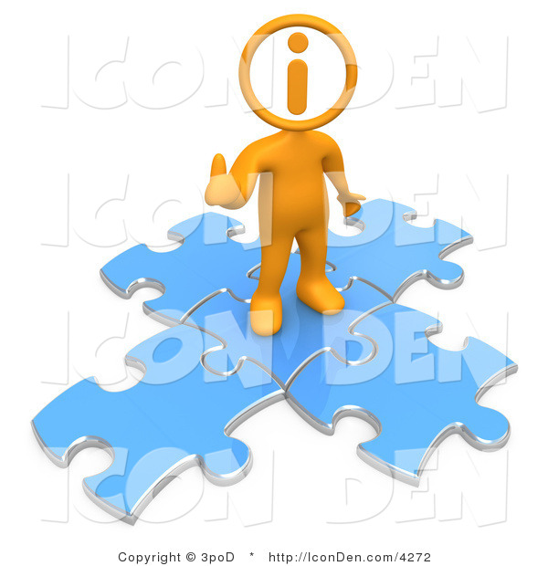 Clip Art of an Orange Person with an I Inside His Circle Head, Standing on Top of Blue Puzzle Pieces, Symbolizing Information and Technical Support for a Website
