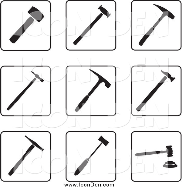 Clip Art of Black and White Hammer Icons