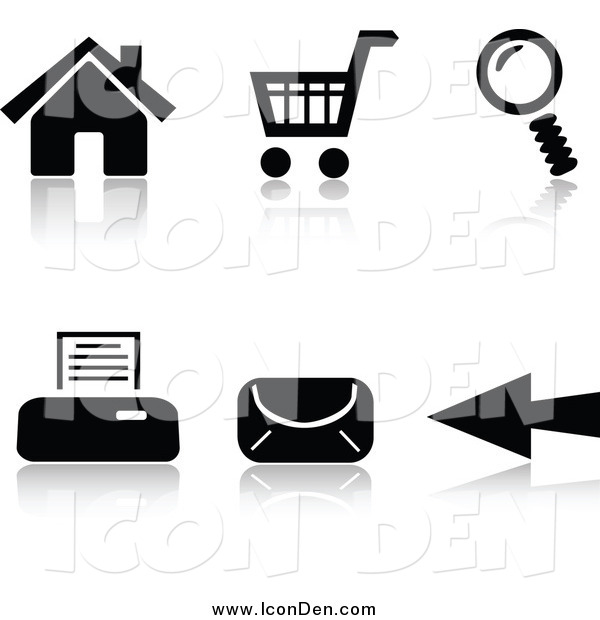 Clip Art of Black and White Internet Browser Icons and Reflections