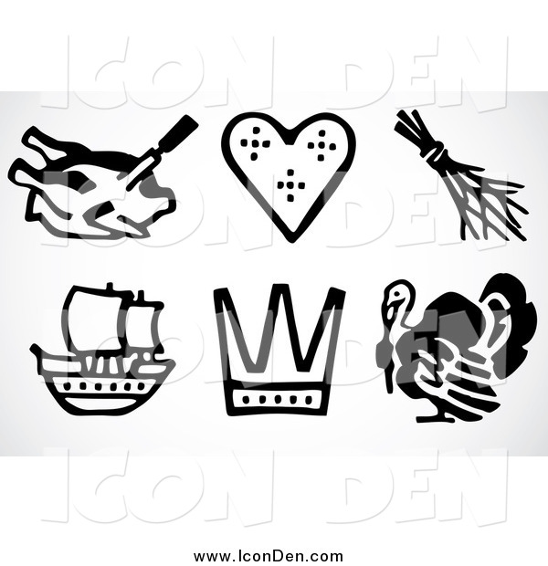 Clip Art of Black and White Thanksgiving Icons