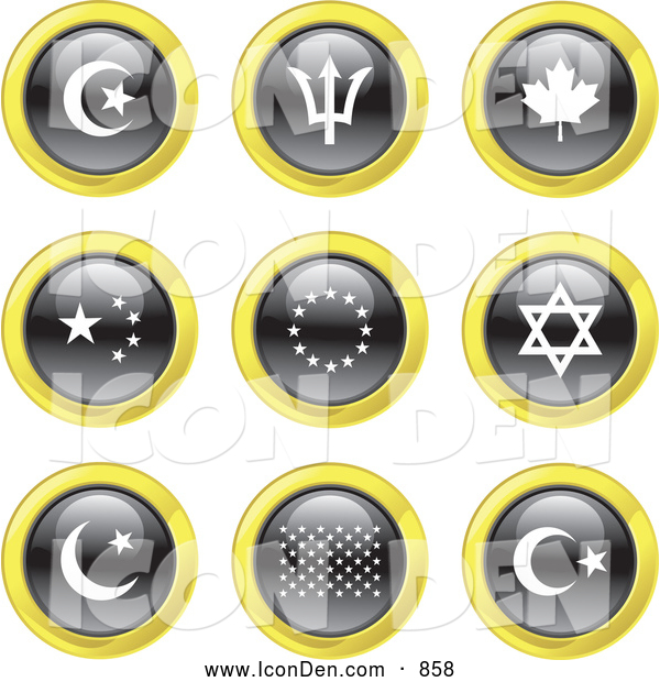 Clip Art of Black, White and Yellow Flag Icons