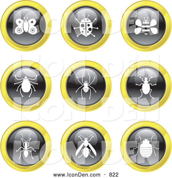 Clip Art of Black, White and Yellow Insect Website Icons