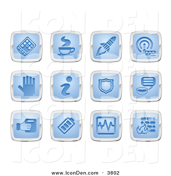 Clip Art of Blue and Silver Square Icons