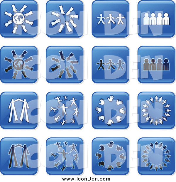 Clip Art of Blue Square Teamwork Icons