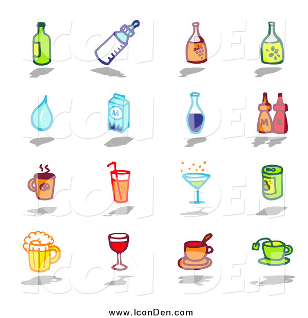Clip Art of Bottles, Water, Milk, Condiments, and Beverages