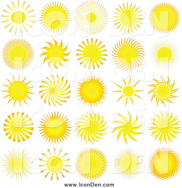 Clip Art of Bright Yellow Summer Sun Icons