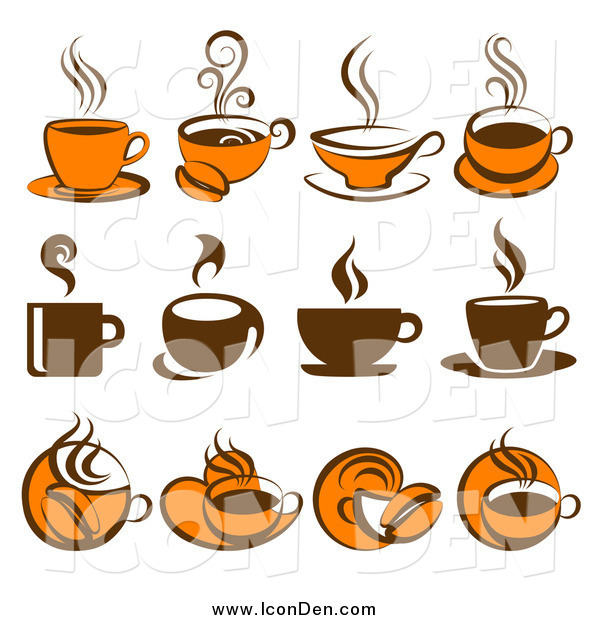 Clip Art of Brown and Orange Coffee Icons