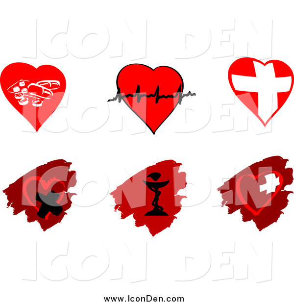 Clip Art of Cardiology Heart and Pharmaceutical Icons Designs