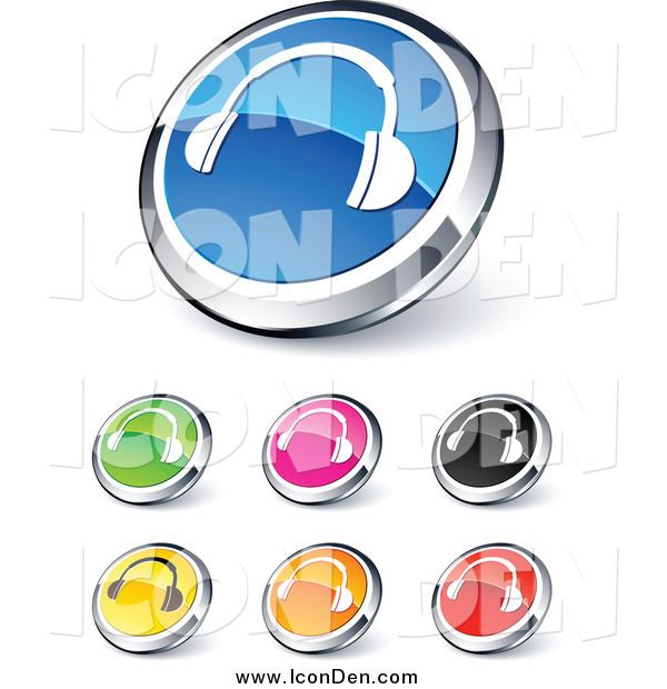 Clip Art of Colorful Headphones Website Icons