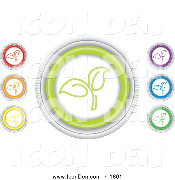 Clip Art of Colorful Seedling Website Icons