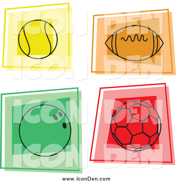 Clip Art of Colorful Sports Ball Icons