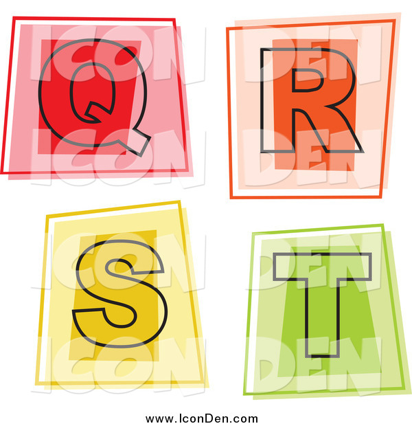Clip Art of Colorful Square Letter Icons; Q Through T