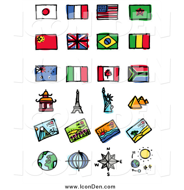Clip Art of Flags and Tourist Attractions
