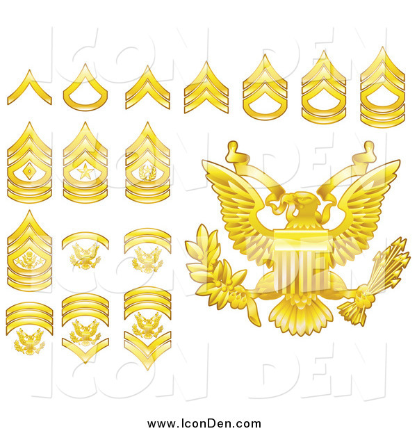 Clip Art of Gold Military American Army Enlisted Rank Insignia Icons