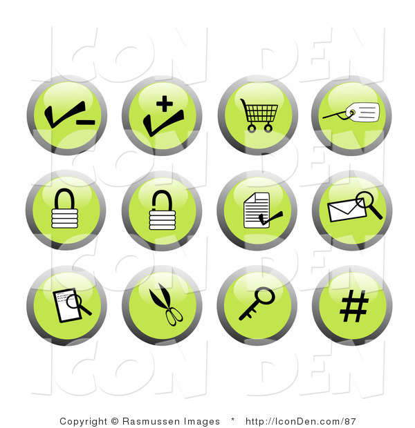 Clip Art of Green Business Website Icon Buttons