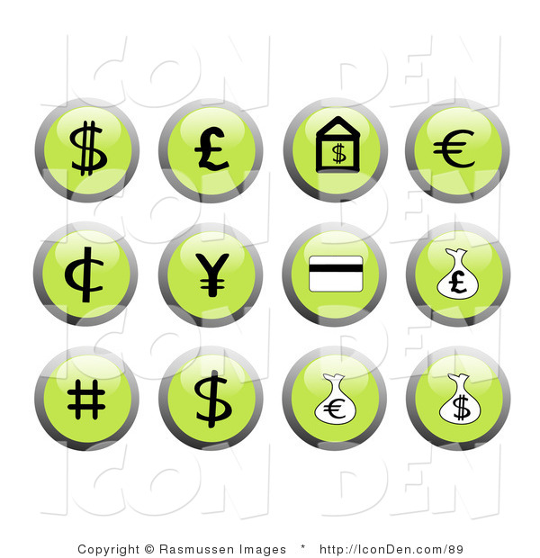 Clip Art of Green Financial Icon Buttons
