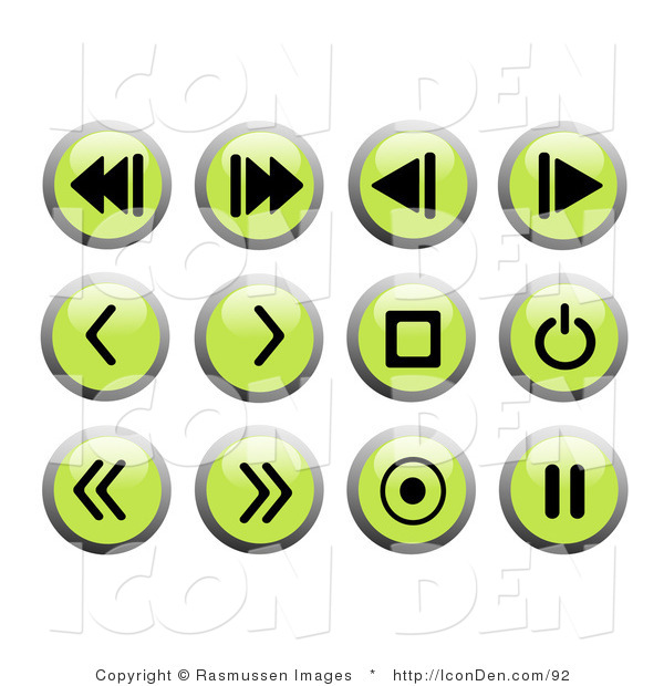 Clip Art of Green Recording Icon Buttons