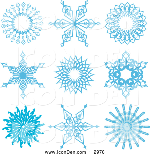 Clip Art of Ornate Blue Snowflake Icons