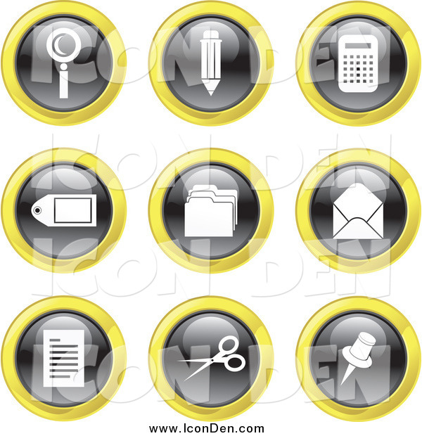 Clip Art of Round Black, White and Yellow Office Icons