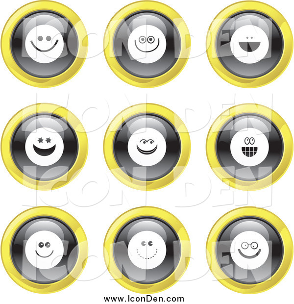 Clip Art of Round Black, White and Yellow Smiley Face Icons