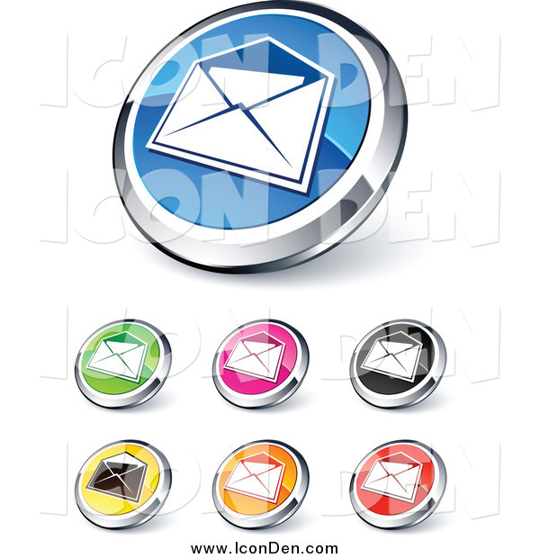 Clip Art of Round Colored and Chrome Open Envelope Website Buttons