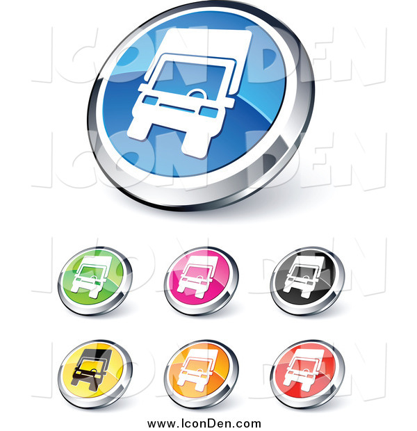 Clip Art of Round Shiny Colored and Chrome Trucking Website Buttons
