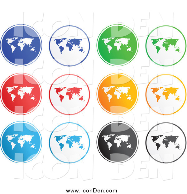 Clip Art of Rounded Map Icons