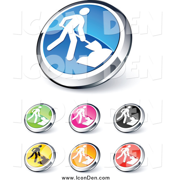 Clip Art of Shiny Colored and Chrome Construction Website Buttons