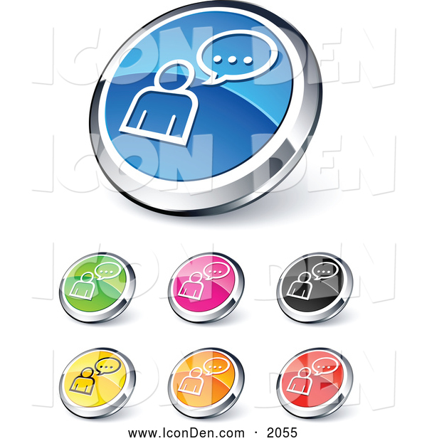 Clip Art of Shiny Colored Chatting Website Buttons
