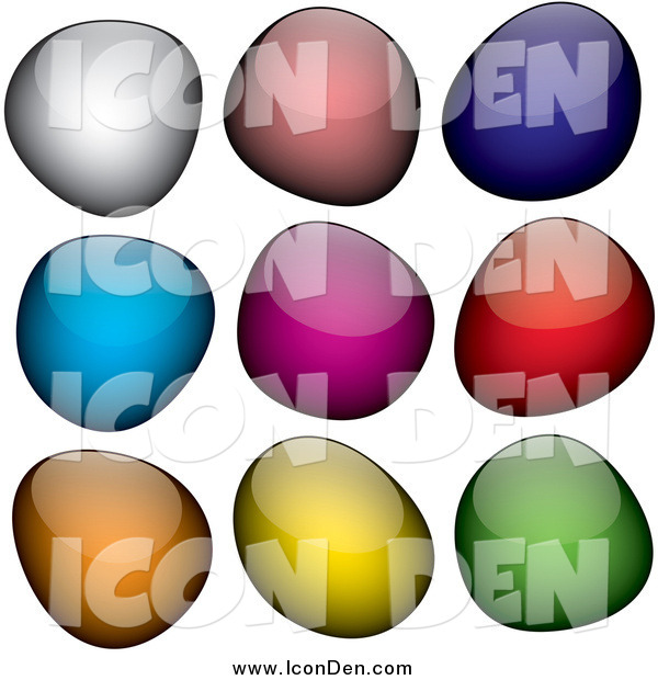 Clip Art of Shiny Colorful Jelly Blob Icons