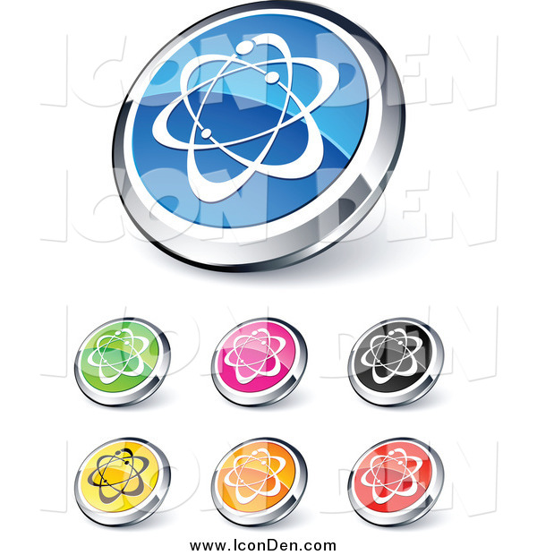 Clip Art of Shiny Round Colored and Chrome Atom Website Buttons